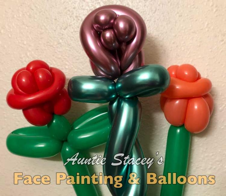Balloon Roses by Auntie Stacey's face painting and balloon twisting corporate events wedding birthday party holiday Halloween clown children's parties kiddos