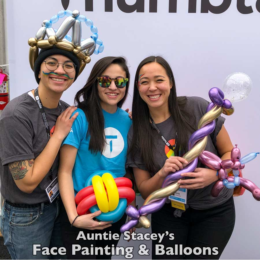balloons for corporate event expo job fair booth trade show kid's parties balloon twisting face paint Auntie Stacey's Face Painting, Aunty Stacey, Princess face paint by Aunt Stacy, Sonoma county, Santa Rosa, Petaluma, Sebastopol, Cloverdale, Novato, Sebastopol, Guerneville, Wine Country, SF Bay area