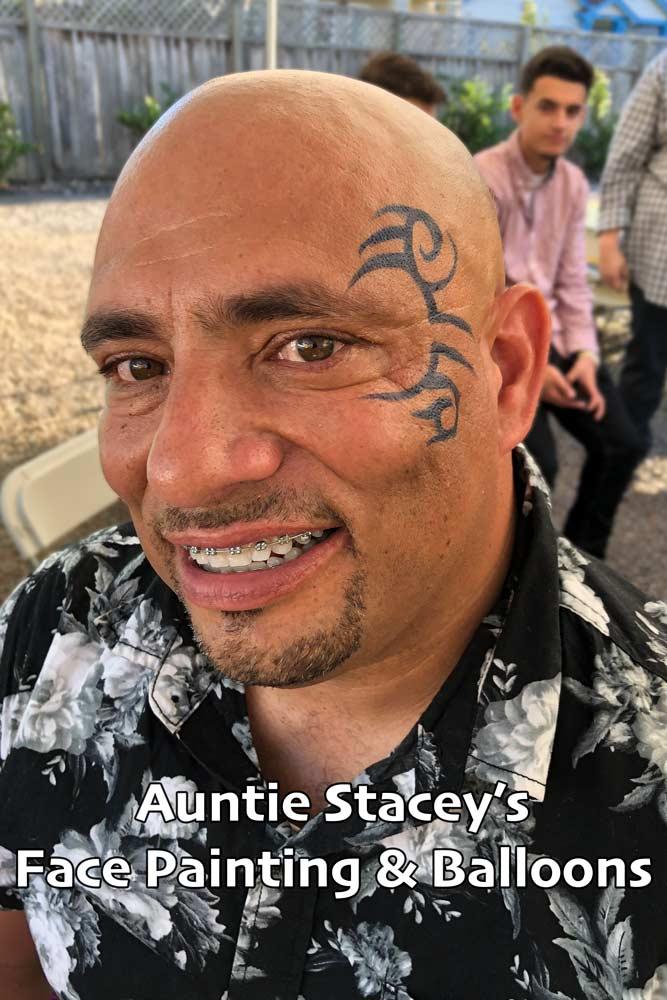 Mike Tyson style Tribal face paint by Auntie Stacey Face paint Auntie Stacey's Face Painting, Aunty Stacey, Princess face paint by Aunt Stacy, Sonoma county, Santa Rosa, Petaluma, Sebastopol, Cloverdale, Novato, Sebastopol, Guerneville, Wine Country, SF Bay area, balloons