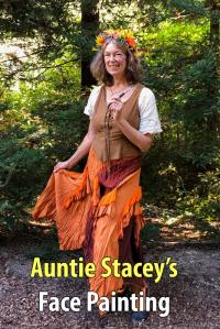 Auntie Stacey, face painter, in Harvest Fairy costume