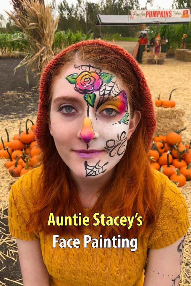 Dia de los Muertos Sugar Scull face paint by Auntie Stacey, at the Petaluma Pumpkin Patch