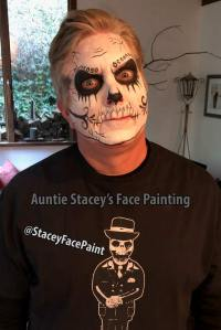 Scull Man face paint by Auntie Stacey, Sebastopol face paint by Auntie Stacey's Face Painting, Sebastopol, CA. Santa Rosa face painter, windsor face painter, Petaluma face painter, Novato face painter, Sonoma county face painter, wine country face painter